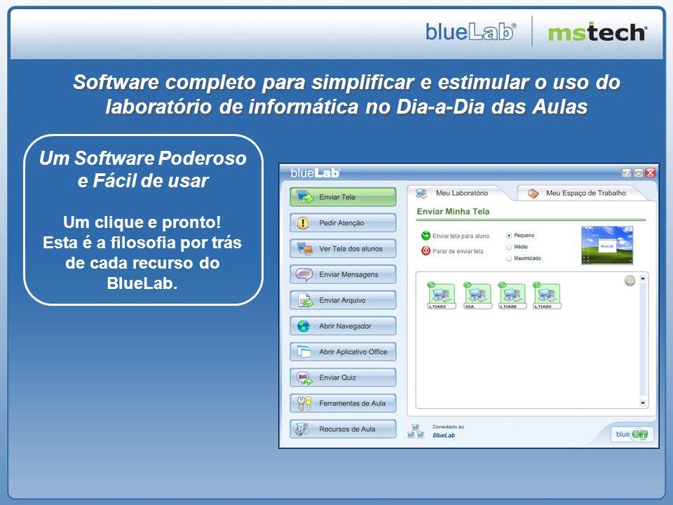 Recursos do BlueLab para os Professores Distribuir tela para todos os alunos Bloquear o computador dos Alunos Ver as telas dos alunos em suas atividades Enviar mensagens para todos ou para um aluno Enviar arquivos para os Alunos com 1 Click.