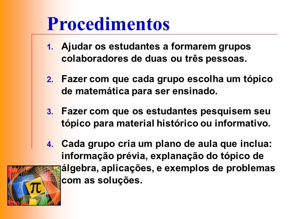 Procedimentos 1. Ajudar os estudantes a formarem grupos colaboradores de duas ou três pessoas. 2. Fazer com que cada grupo escolha um tópico de matemá