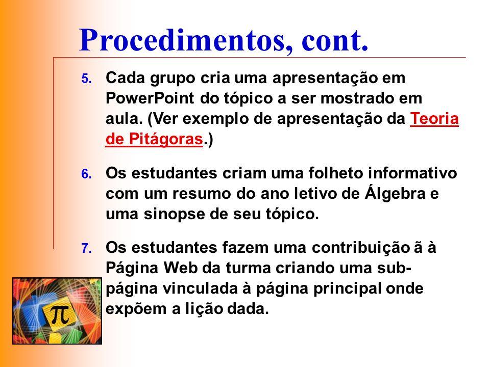 5. Cada grupo cria uma apresentação em PowerPoint do tópico a ser mostrado em aula. (Ver exemplo de apresentação da Teoria de Pitágoras.)Teoria de Pit