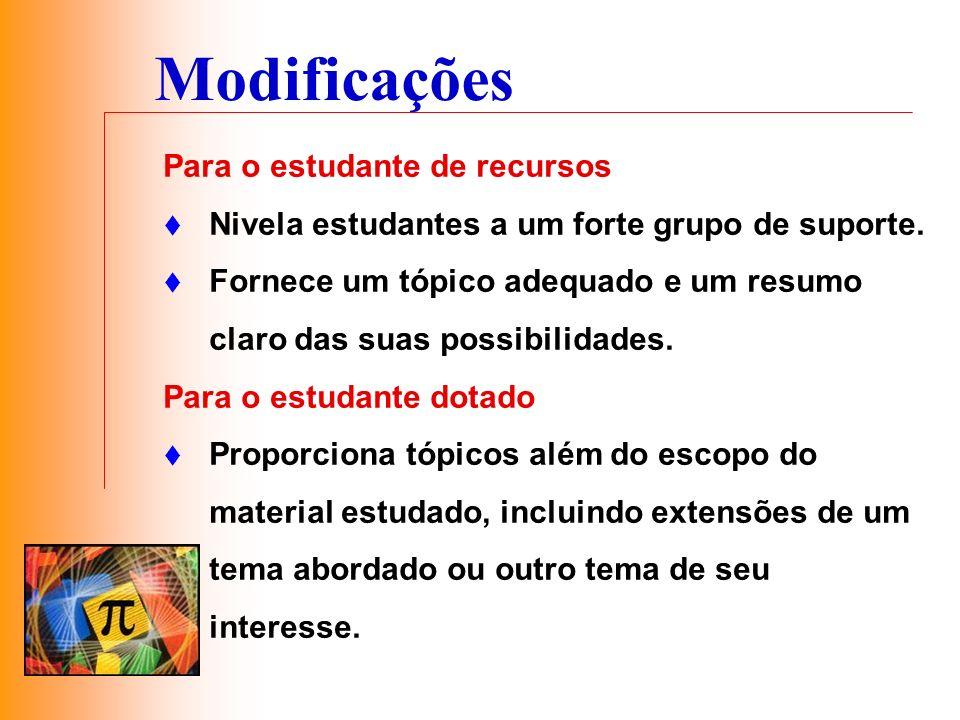 Modificações Para o estudante de recursos Nivela estudantes a um forte grupo de suporte. Fornece um tópico adequado e um resumo claro das suas possibi
