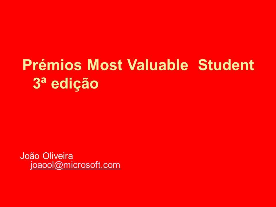 Prémios Most Valuable Student 3ª edição João Oliveira joaool@microsoft.com joaool@microsoft.com