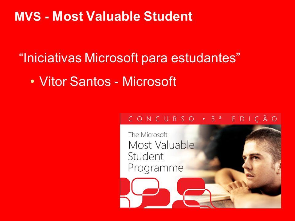 MVS - Most Valuable Student Iniciativas Microsoft para estudantes Vitor Santos - Microsoft
