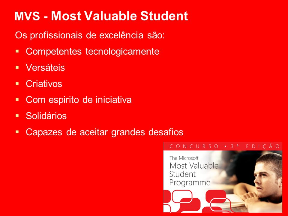 MVS - Most Valuable Student Os profissionais de excelência são: Competentes tecnologicamente Versáteis Criativos Com espirito de iniciativa Solidários Capazes de aceitar grandes desafios