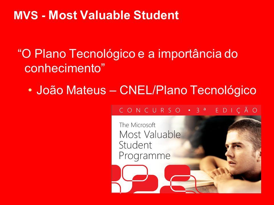 MVS - Most Valuable Student O Plano Tecnológico e a importância do conhecimento João Mateus – CNEL/Plano Tecnológico