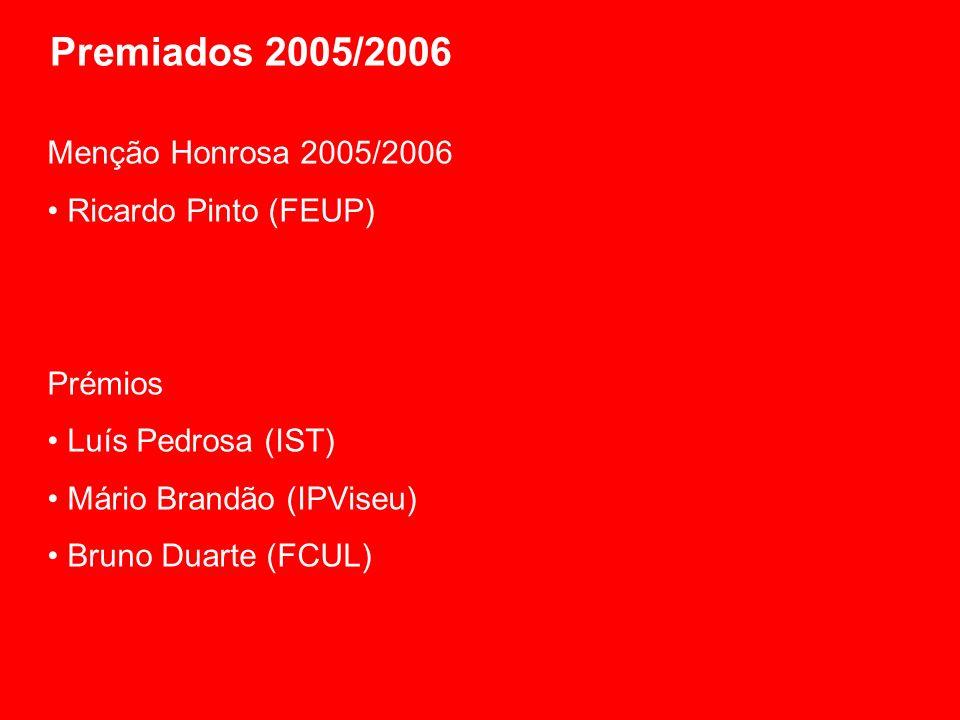 Premiados 2005/2006 Menção Honrosa 2005/2006 Ricardo Pinto (FEUP) Prémios Luís Pedrosa (IST) Mário Brandão (IPViseu) Bruno Duarte (FCUL)