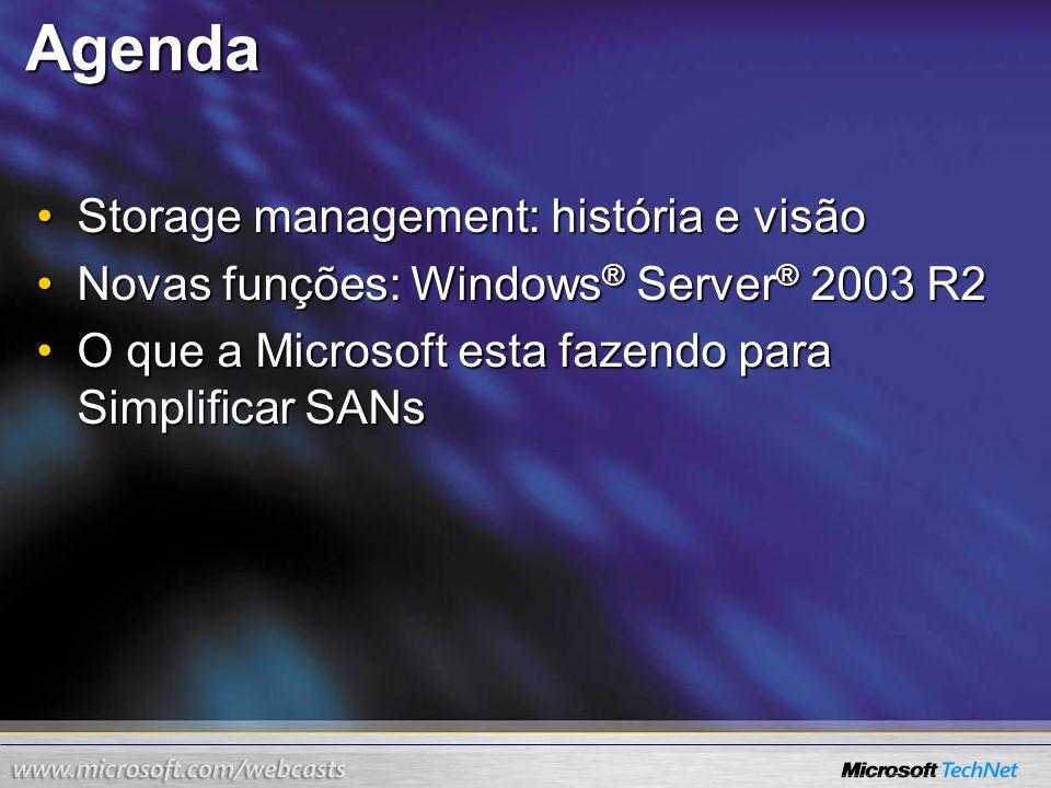 Agenda Storage management: história e visãoStorage management: história e visão Novas funções: Windows ® Server ® 2003 R2Novas funções: Windows ® Serv