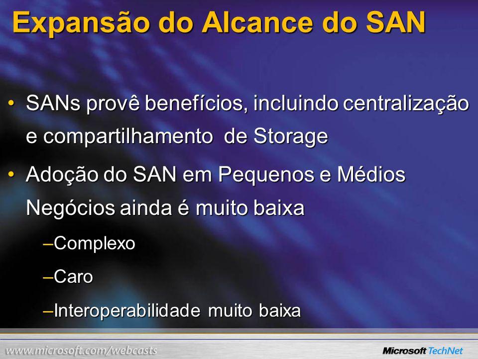 Expansão do Alcance do SAN SANs provê benefícios, incluindo centralização e compartilhamento de StorageSANs provê benefícios, incluindo centralização