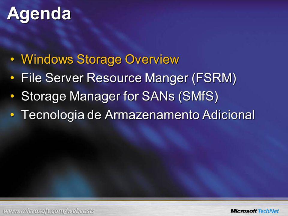 Agenda Windows Storage OverviewWindows Storage Overview File Server Resource Manger (FSRM)File Server Resource Manger (FSRM) Storage Manager for SANs