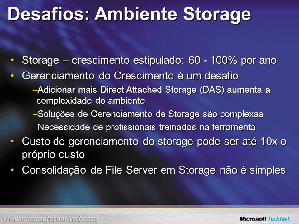 Windows Server 2003 R2 Novas Features (FSRM) (SMfS) Capacity Management Policy Management File Screening QuotaManagement Configuration Management File Server Resource Manager Storage Manager for SANs Disk provisioning Disk provisioning Disk management Disk management