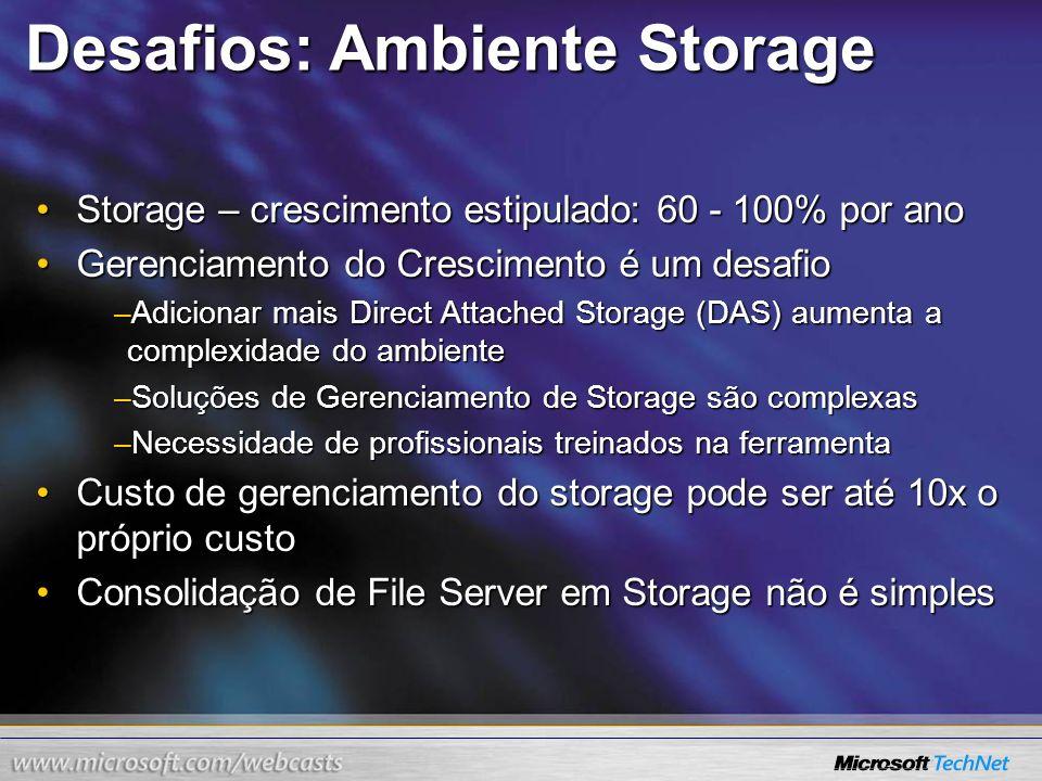 Desafios: Ambiente Storage Storage – crescimento estipulado: 60 - 100% por anoStorage – crescimento estipulado: 60 - 100% por ano Gerenciamento do Cre