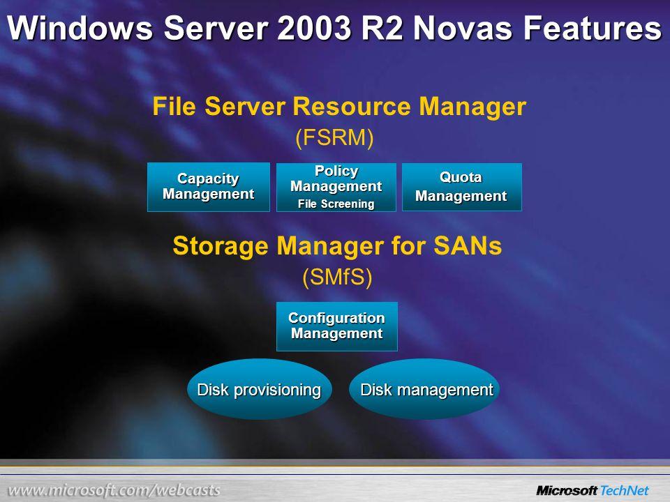 Windows Server 2003 R2 Novas Features (FSRM) (SMfS) Capacity Management Policy Management File Screening QuotaManagement Configuration Management File
