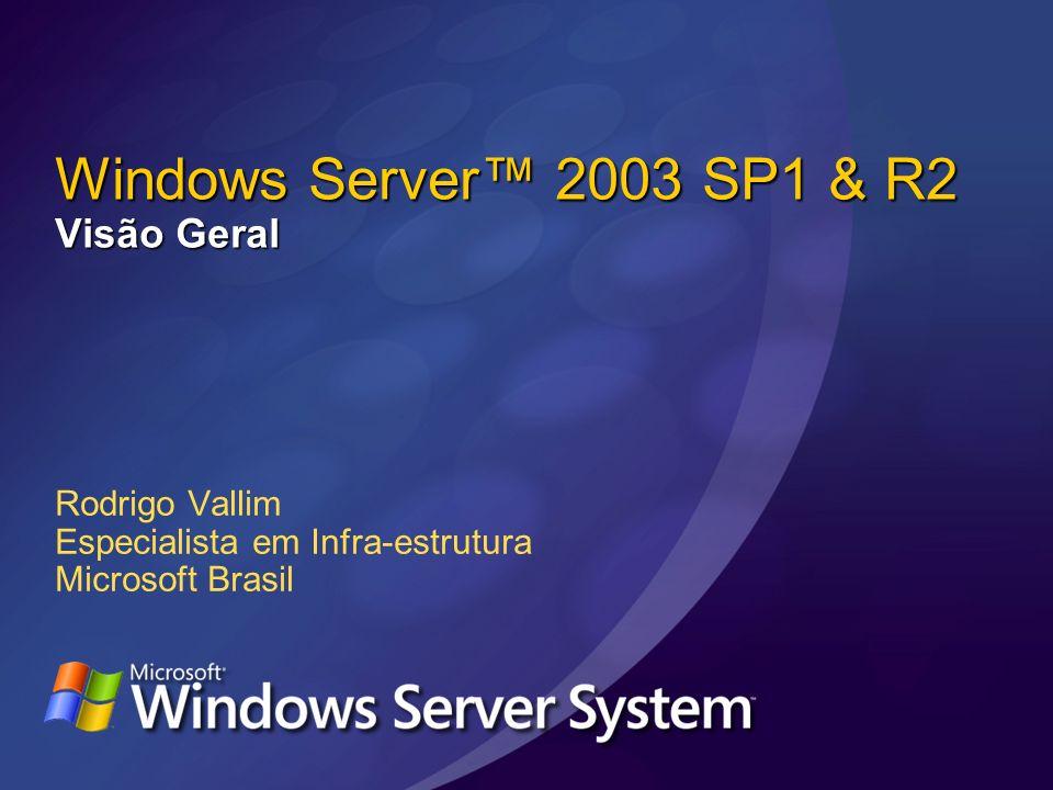 Windows Server 2003 SP1 & R2 Visão Geral Rodrigo Vallim Especialista em Infra-estrutura Microsoft Brasil