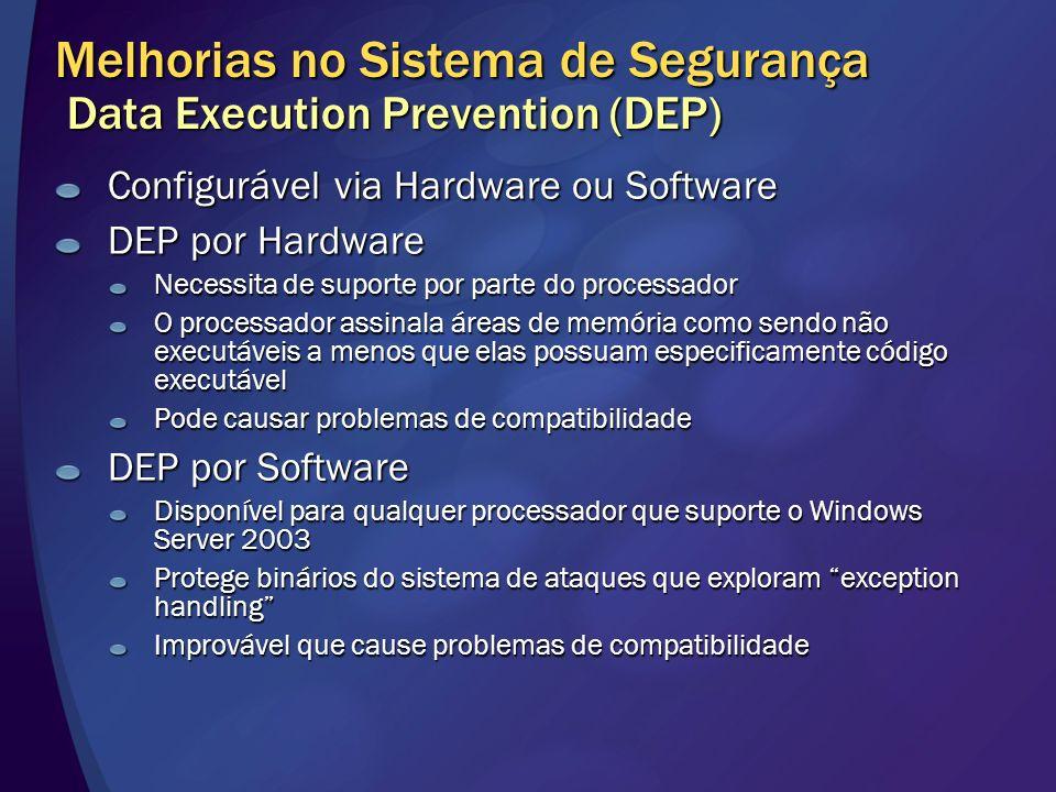 Melhorias no Sistema de Segurança Data Execution Prevention (DEP) Configurável via Hardware ou Software DEP por Hardware Necessita de suporte por part