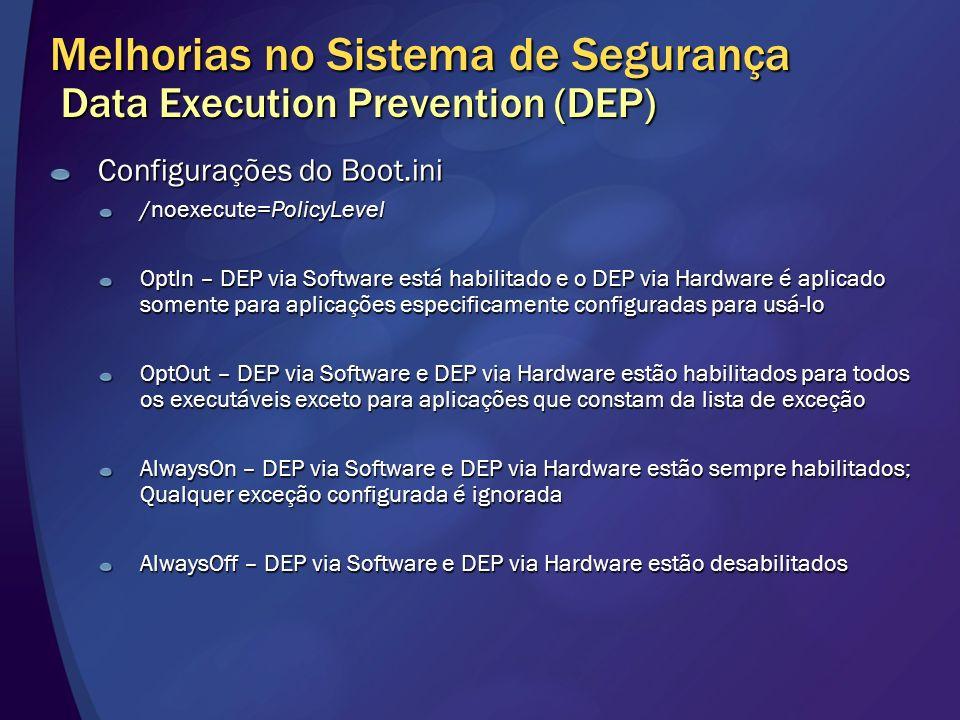 Melhorias no Sistema de Segurança Data Execution Prevention (DEP) Configurações do Boot.ini /noexecute=PolicyLevel OptIn – DEP via Software está habil