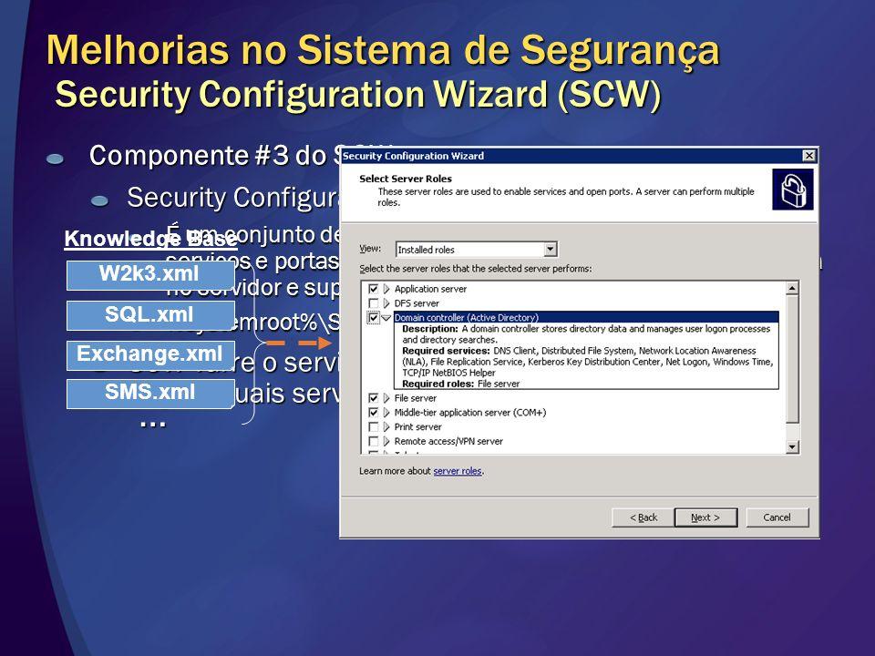 Melhorias no Sistema de Segurança Security Configuration Wizard (SCW) Componente #3 do SCW Security Configuration Database É um conjunto de documentos