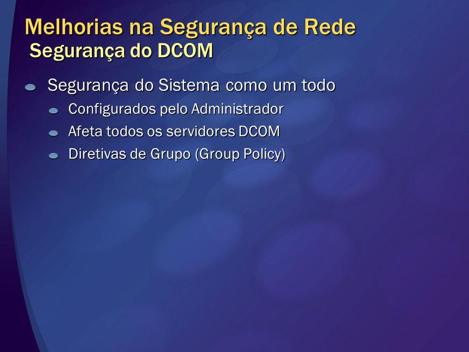 Melhorias na Segurança de Rede Segurança do DCOM Segurança do Sistema como um todo Configurados pelo Administrador Afeta todos os servidores DCOM Dire