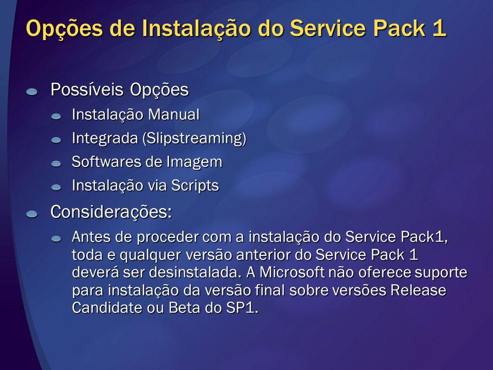 Opções de Instalação do Service Pack 1 Possíveis Opções Instalação Manual Integrada (Slipstreaming) Softwares de Imagem Instalação via Scripts Conside