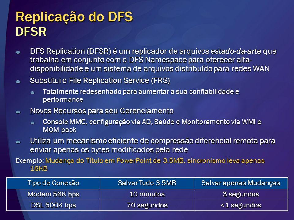 Replicação do DFS DFSR DFS Replication (DFSR) é um replicador de arquivos estado-da-arte que trabalha em conjunto com o DFS Namespace para oferecer al