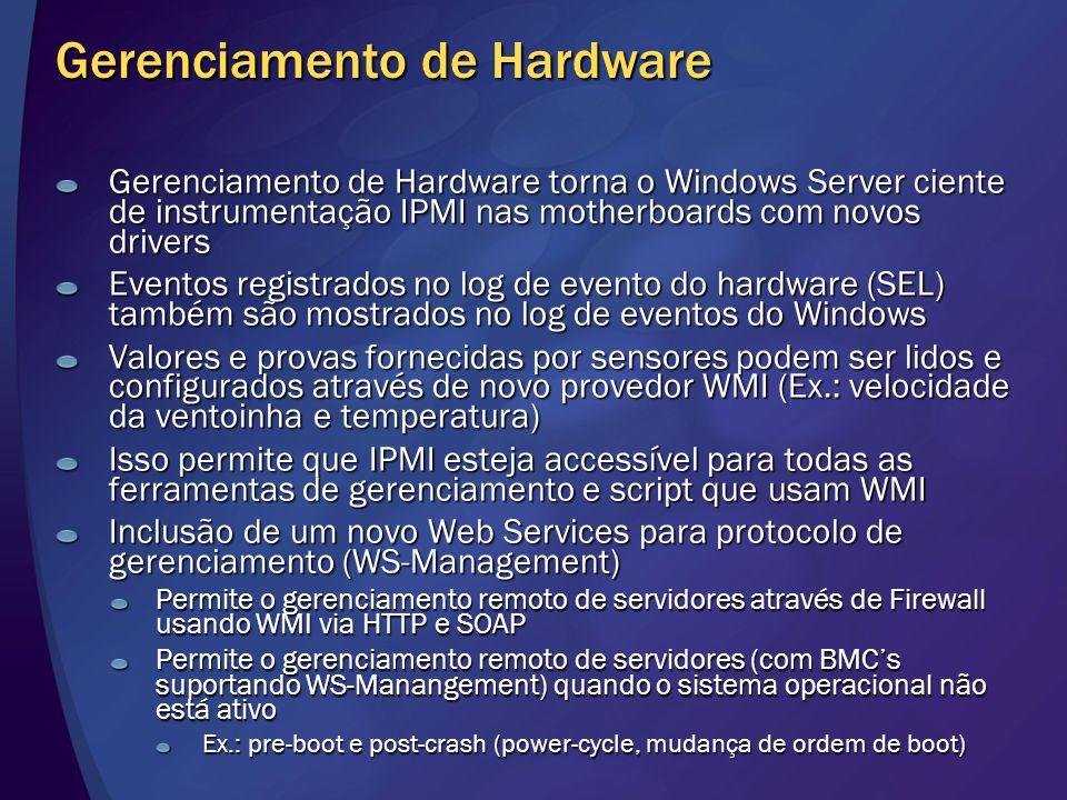 Gerenciamento de Hardware Gerenciamento de Hardware torna o Windows Server ciente de instrumentação IPMI nas motherboards com novos drivers Eventos re