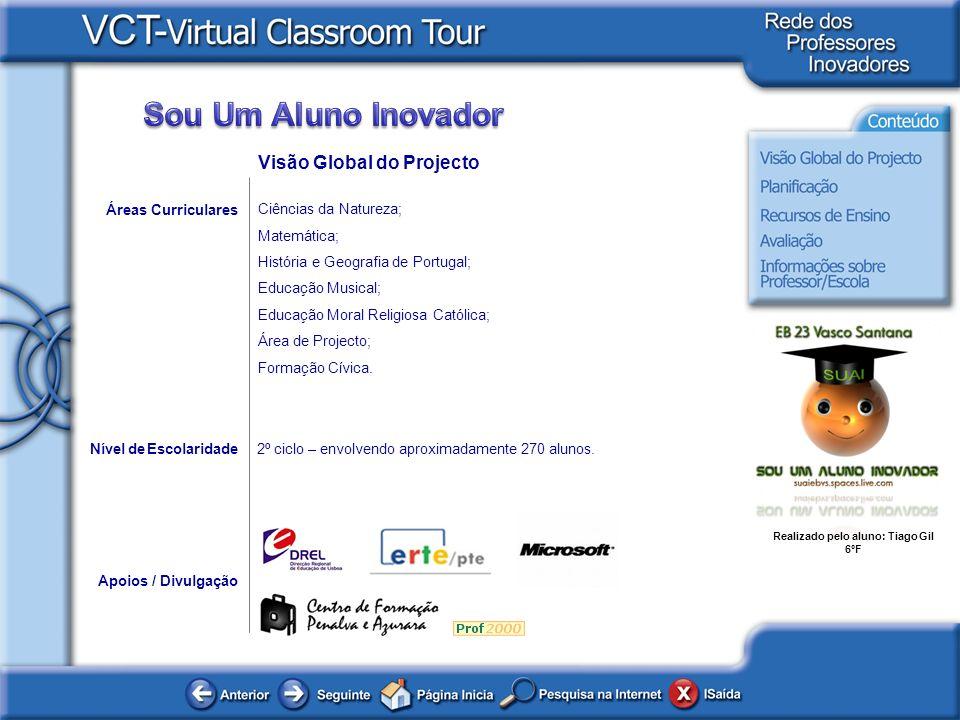 Realizado pelo aluno: Tiago Gil 6ºF Áreas Curriculares Ciências da Natureza; Matemática; História e Geografia de Portugal; Educação Musical; Educação