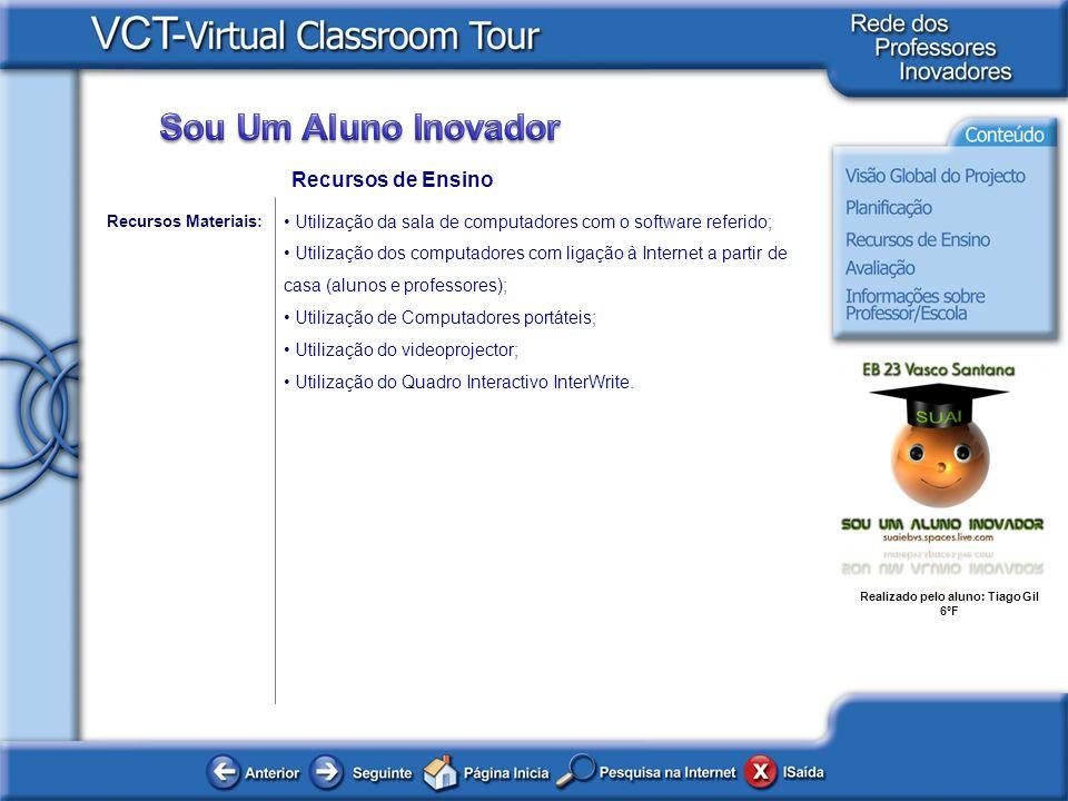Realizado pelo aluno: Tiago Gil 6ºF Recursos de Ensino Utilização da sala de computadores com o software referido; Utilização dos computadores com lig