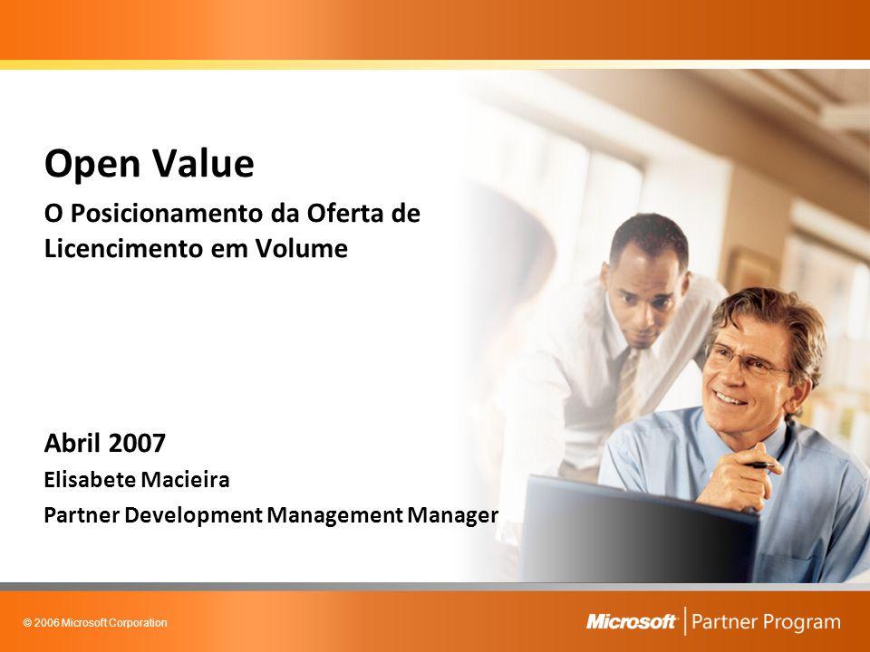 © 2006 Microsoft Corporation Agenda Posicionamento da Oferta de Licenciamento em Volume Acordo Empresarial Open Value Caso Prático