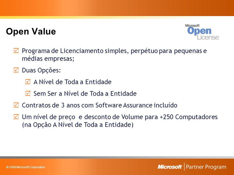 © 2006 Microsoft Corporation Open Value – A Nível de Toda a Entidade Mínimo de 5 PCs na encomenda inicial; Uniformização da Plataforma – Profissional ou Pequenas Empresas; Mais benefícios de Software Assurance; Um nível de preço com desconto de Volume para + 250 Computadores Final do contrato: Renovação só com Software Assurance