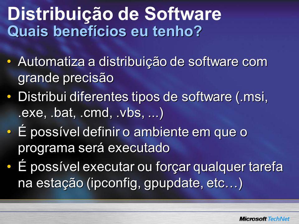 Quais benefícios eu tenho. Distribuição de Software Quais benefícios eu tenho.