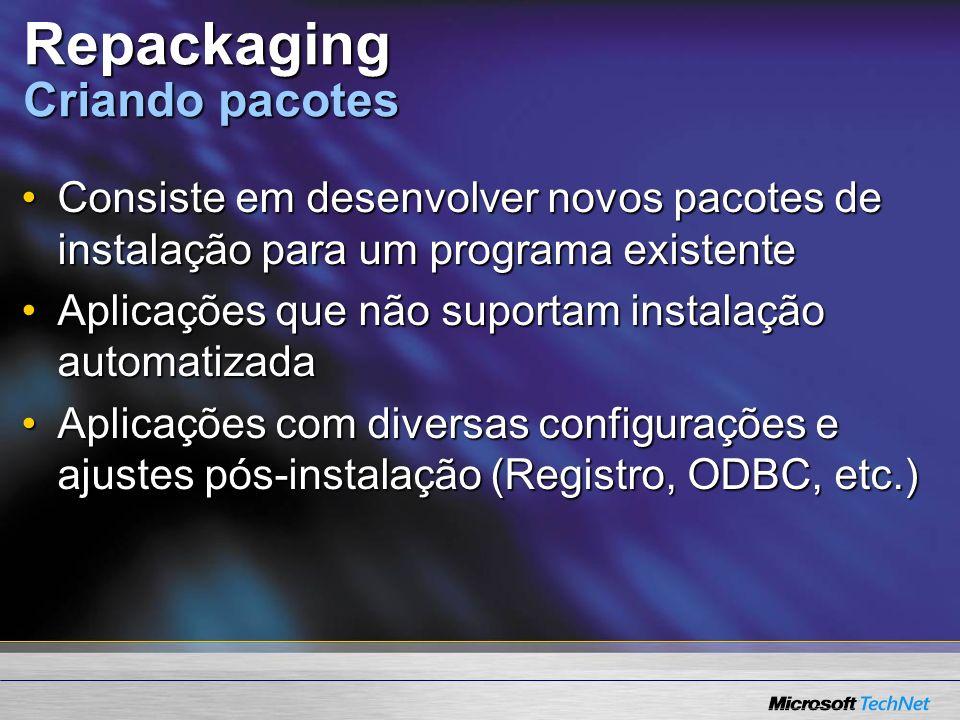 Repackaging Criando pacotes Consiste em desenvolver novos pacotes de instalação para um programa existenteConsiste em desenvolver novos pacotes de instalação para um programa existente Aplicações que não suportam instalação automatizadaAplicações que não suportam instalação automatizada Aplicações com diversas configurações e ajustes pós-instalação (Registro, ODBC, etc.)Aplicações com diversas configurações e ajustes pós-instalação (Registro, ODBC, etc.)