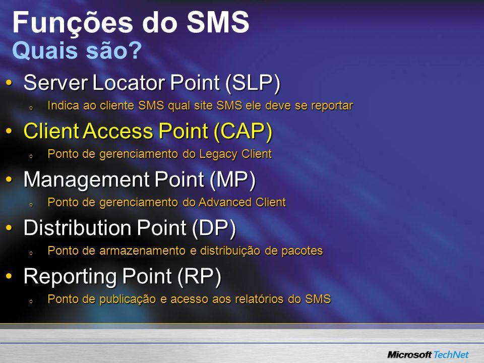 Management Point Server Locator Point Distribution Point Reporting Point Client Access Point Site Server SMS Site Database Funções do SMS http://www.microsoft.com/technet/prodtechnol/sms/sms2003/cp dg/plan8pny.mspx?mfr=true