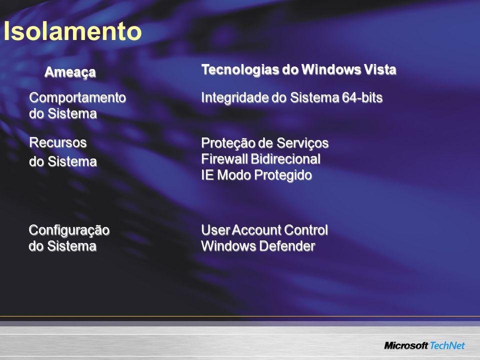 IsolamentoAmeaça Tecnologias do Windows Vista Comportamento do Sistema Integridade do Sistema 64-bits Recursos do Sistema Proteção de Serviços Firewall Bidirecional IE Modo Protegido Configuração do Sistema User Account Control Windows Defender