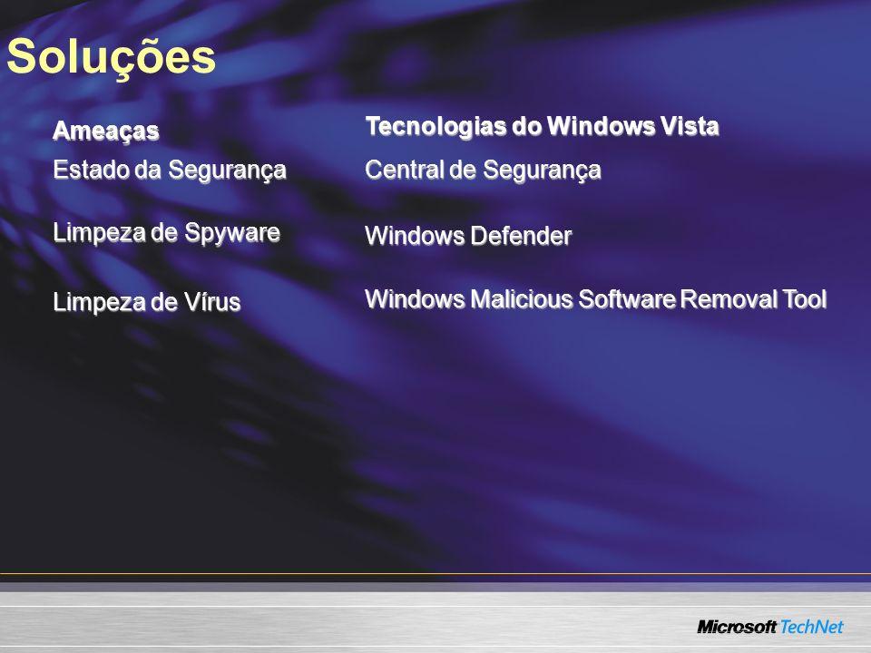 SoluçõesAmeaças Tecnologias do Windows Vista Estado da Segurança Central de Segurança Limpeza de Spyware Windows Defender Limpeza de Vírus Windows Malicious Software Removal Tool