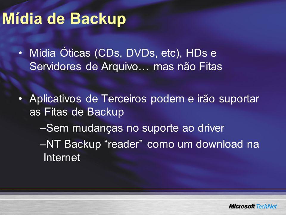 Mídia de Backup Mídia Óticas (CDs, DVDs, etc), HDs e Servidores de Arquivo… mas não Fitas Aplicativos de Terceiros podem e irão suportar as Fitas de Backup –Sem mudanças no suporte ao driver –NT Backup reader como um download na Internet