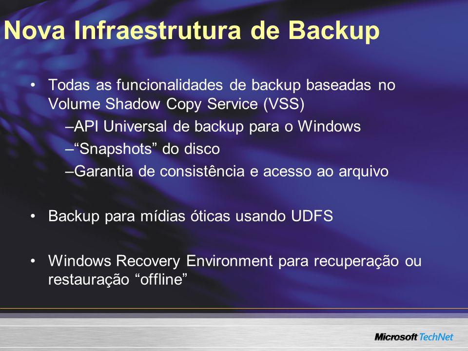 Nova Infraestrutura de Backup Todas as funcionalidades de backup baseadas no Volume Shadow Copy Service (VSS) –API Universal de backup para o Windows –Snapshots do disco –Garantia de consistência e acesso ao arquivo Backup para mídias óticas usando UDFS Windows Recovery Environment para recuperação ou restauração offline