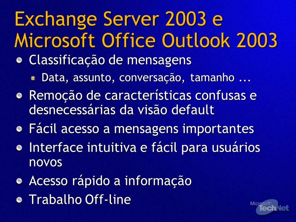 Exchange Server 2003 e Microsoft Office Outlook 2003 Classificação de mensagens Data, assunto, conversação, tamanho... Remoção de características conf