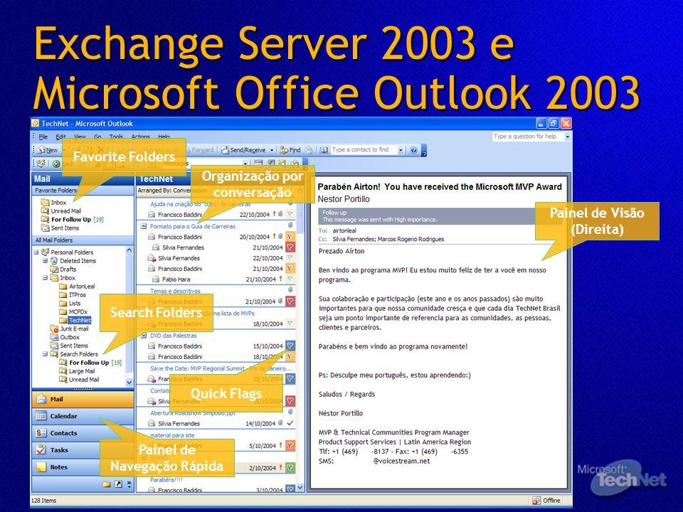 Exchange Server 2003 e Microsoft Office Outlook 2003 Favorite Folders Search Folders Painel de Navegação Rápida Organização por conversação Painel de