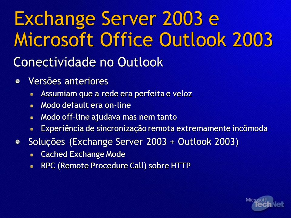 Exchange Server 2003 e Microsoft Office Outlook 2003 Versões anteriores Assumiam que a rede era perfeita e veloz Modo default era on-line Modo off-lin