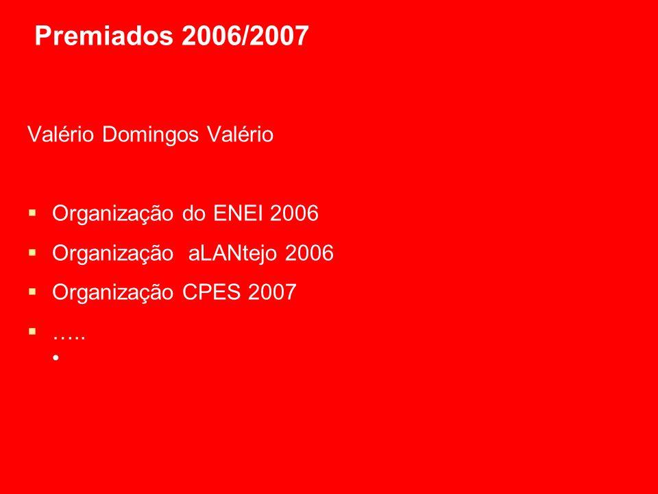 Premiados 2006/2007 Valério Domingos Valério Organização do ENEI 2006 Organização aLANtejo 2006 Organização CPES 2007 …..