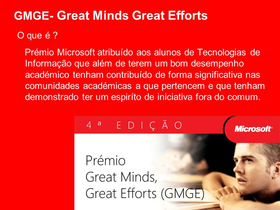 GMGE- Great Minds Great Efforts O que é .