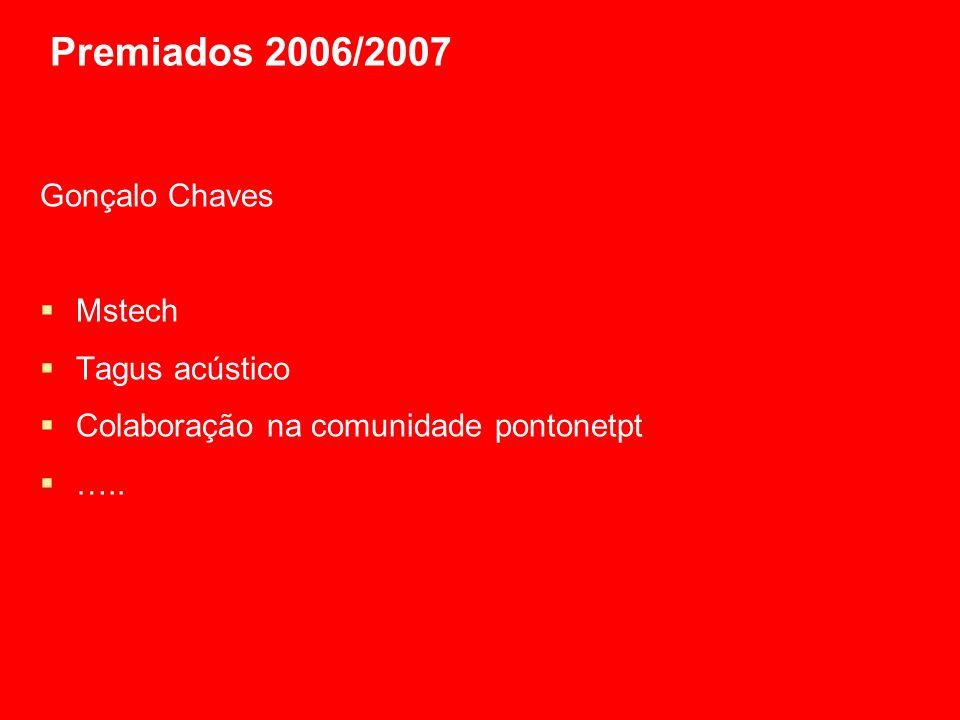 Premiados 2006/2007 Gonçalo Chaves Mstech Tagus acústico Colaboração na comunidade pontonetpt …..