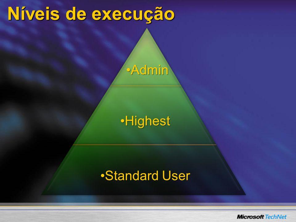 Níveis de execução Standard UserStandard User HighestHighest AdminAdmin