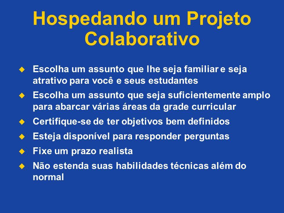 Hospedando um Projeto Colaborativo Escolha um assunto que lhe seja familiar e seja atrativo para você e seus estudantes Escolha um assunto que seja su
