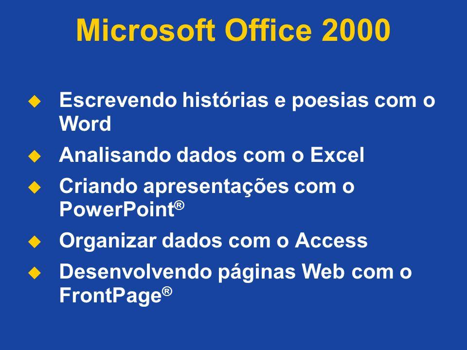 Microsoft Office 2000 Escrevendo histórias e poesias com o Word Analisando dados com o Excel Criando apresentações com o PowerPoint ® Organizar dados