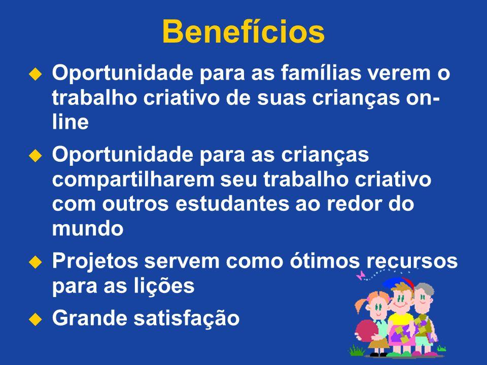 Benefícios Oportunidade para as famílias verem o trabalho criativo de suas crianças on- line Oportunidade para as crianças compartilharem seu trabalho