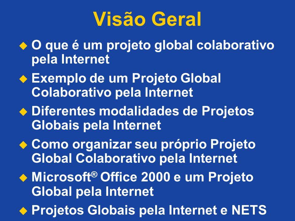Visão Geral O que é um projeto global colaborativo pela Internet Exemplo de um Projeto Global Colaborativo pela Internet Diferentes modalidades de Pro