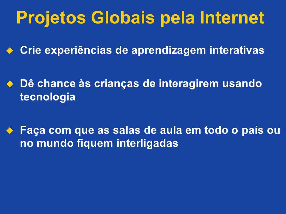 Projetos Globais pela Internet Crie experiências de aprendizagem interativas Dê chance às crianças de interagirem usando tecnologia Faça com que as sa