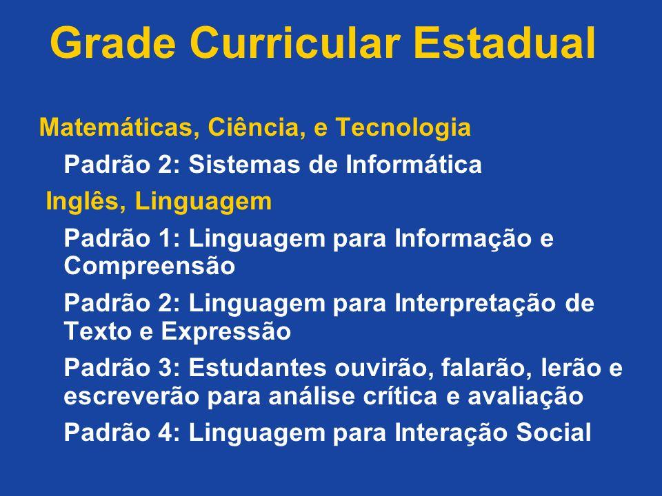 Grade Curricular Estadual Matemáticas, Ciência, e Tecnologia Padrão 2: Sistemas de Informática Inglês, Linguagem Padrão 1: Linguagem para Informação e