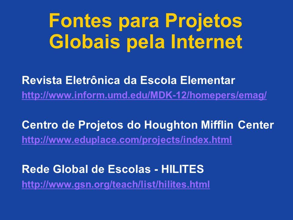 Fontes para Projetos Globais pela Internet Revista Eletrônica da Escola Elementar http://www.inform.umd.edu/MDK-12/homepers/emag/ Centro de Projetos d
