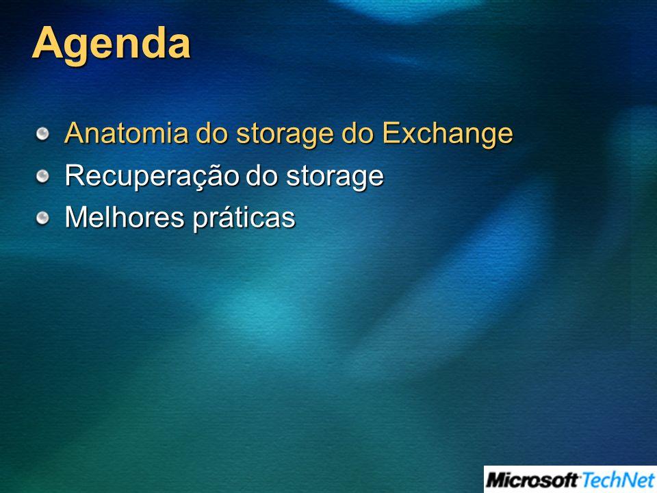Agenda Anatomia do storage do Exchange Recuperação do storage Melhores práticas