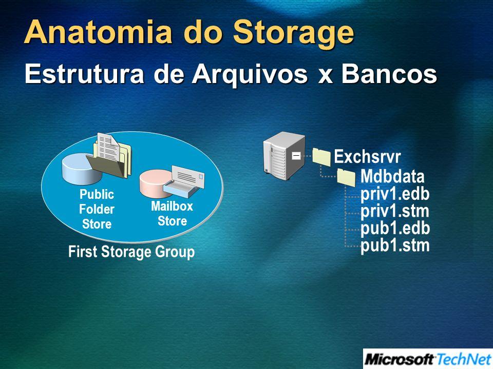 Anatomia do Storage First Storage Group Mailbox Store Public Folder Store Exchsrvr Mdbdata priv1.edb priv1.stm pub1.edb pub1.stm Estrutura de Arquivos